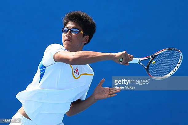 Hyeon Chung of Korea in action with Sumit Nagal of India in their first round doubles match against Pedro Martinez Portero and Jaume Antoni Munar...