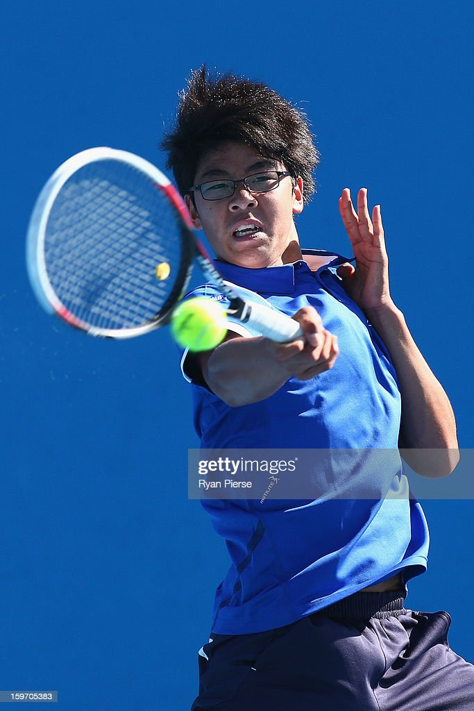 Hyeon Chung of Korea plays a forehand in his first round match against Jake Delaney of Australia during the 2013 Australian Open Junior Championships at Melbourne Park on January 19, 2013 in Melbourne, Australia.