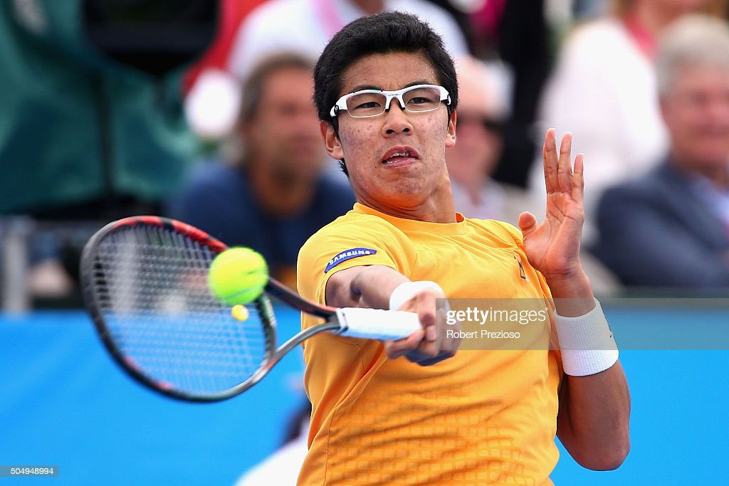 Hyeon Chung of Korea plays a forehand in his match against Nicolas Almagro of Spain during day three of the 2016 Kooyong Classic at Kooyong on...