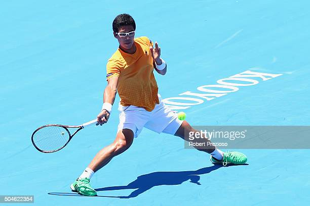 Hyeon Chung of Korea plays a forehand in his match against Omar Jasika of Australia during day one of the 2016 Kooyong Classic at Kooyong on January...