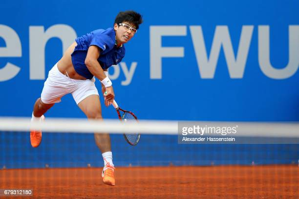 Hyeon Chung of Korea plays the ball during his quarter finale match against Martin Klizan of Slovakia of the 102 BMW Open by FWU at Iphitos tennis...