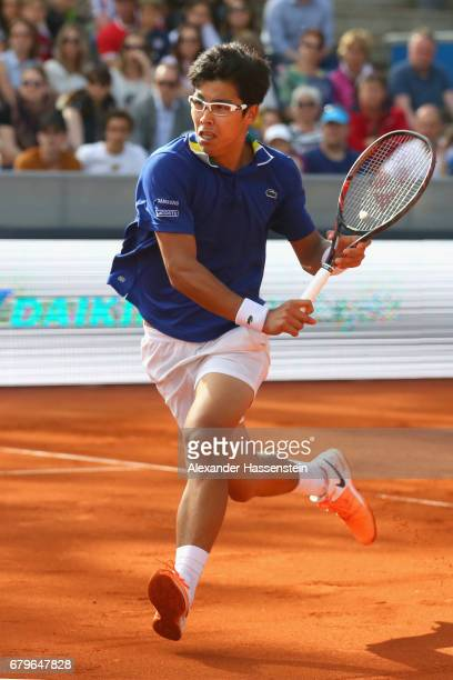 Hyeon Chung of Korea plays the ball during his semi finale match against Guido Pella of Argentina of the 102 BMW Open by FWU at Iphitos tennis club...