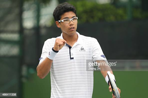Hyeon Chung of Korea reacts during his match against Roberto Carballes Baena of Spain during the ATP Challenger Guangzhou Tour Day 5 at Guangzhou...