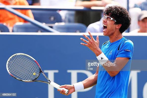 Hyeon Chung of Korea reacts during his Men's Singles Second Round match against Stan Wawrinka of Switzerland on Day Four of the 2015 US Open at the...
