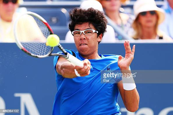 Hyeon Chung of Korea returns a shot to Stan Wawrinka of Switzerland during their Men's Singles Second Round match on Day Four of the 2015 US Open at...