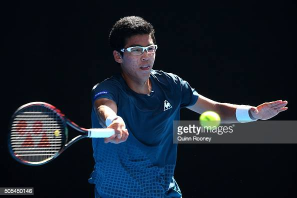 Hyeon Chung of Korea serves in his first round match against during day one of the 2016 Australian Open at Melbourne Park on January 18 2016 in...