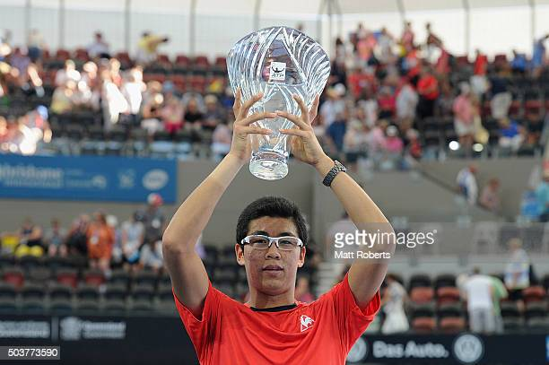 Hyeon Chung of South Korea holds aloft the ATP Most Improved Player trophy during day five of the 2016 Brisbane International at Pat Rafter Arena on...