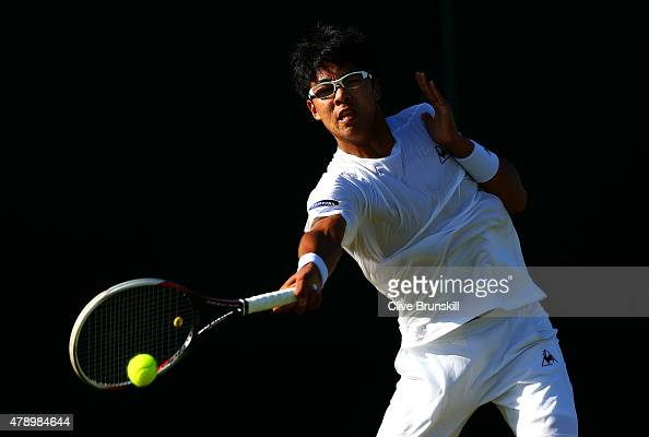 Hyeon Chung of South Korea in action in his Gentlemens Singles first round match against PierreHugues Herbert of France during day one of the...
