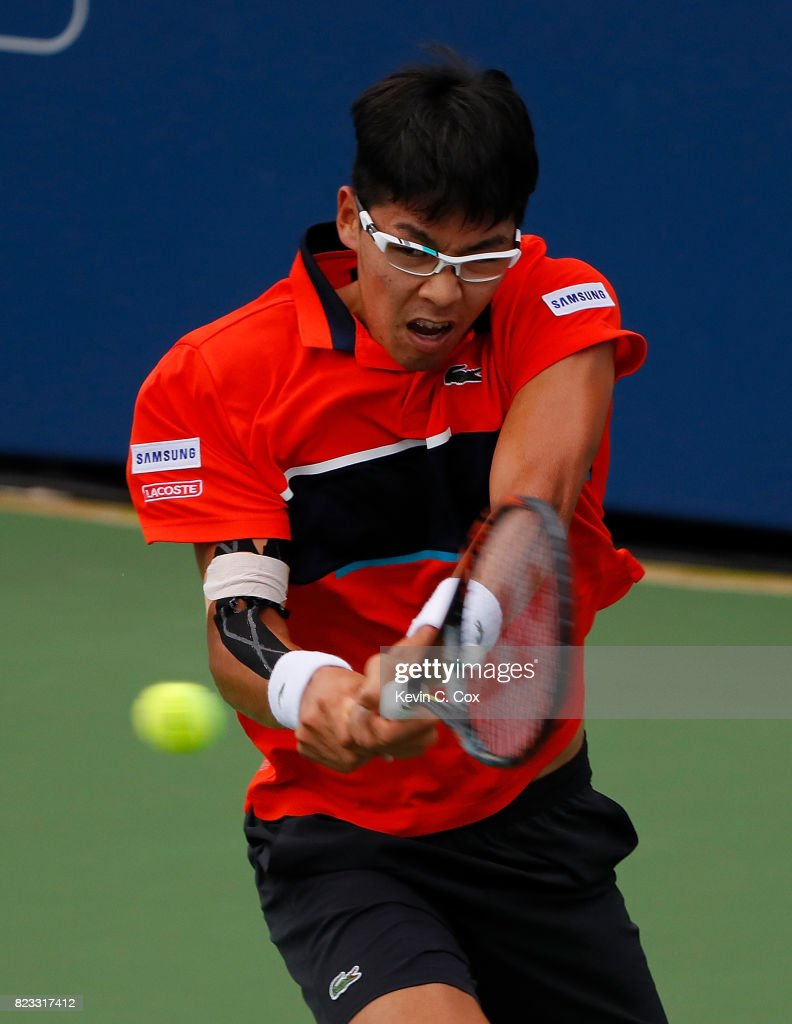 Hyeon Chung of South Korea returns a backhand to Tommy Paul during the BB&T Atlanta Open at Atlantic Station on July 24, 2017 in Atlanta, Georgia.