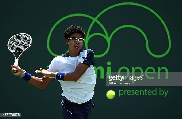 Hyeon Chung of the Republic of Korea plays a match against Tomas Berdych of the Czech Republic during Day 5 of the Miami Open presented by Itau at...