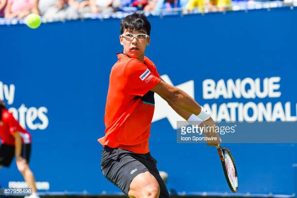 Hyeon Chung returns the ball and keeps eye contact with the ball during his first round match at ATP Coupe Rogers on August 8 at Uniprix Stadium in...
