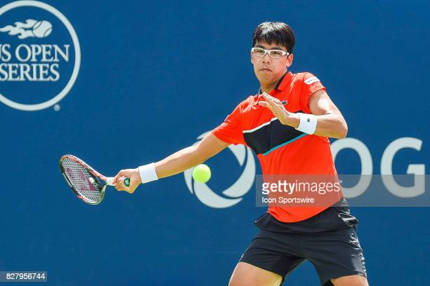 Hyeon Chung returns the ball while keeping eye contact during his first round match at ATP Coupe Rogers on August 8 at Uniprix Stadium in Montreal QC