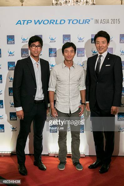 Hyeon Chung YenHsun Lu and Shuzo Matsuoka pose for a picture at an ATP event on October 12 2015 in Shanghai China