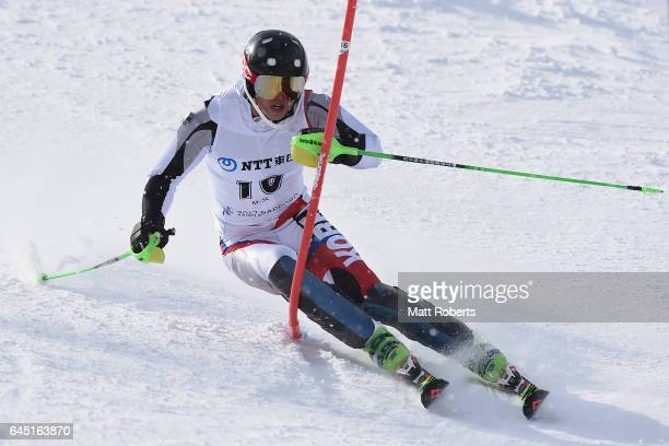 Hyeontae Kim of Korea competes in the men's slalom alpine skiing on the day eight of the 2017 Sapporo Asian Winter Games at Sapporo Teine on February...