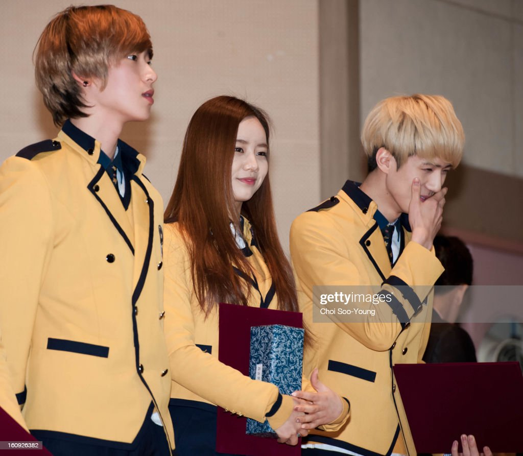 Hye-Ri of Girls Day and Se-Hun of Exo-K during Seoul Arts High School Graduation on February 7, 2013 in Seoul, South Korea.