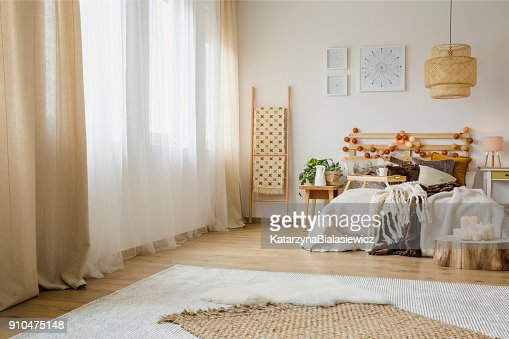 Hygge style bedroom interior : Stock Photo