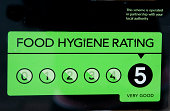 Food hygiene rating level displayed in restaurants and takeaways.