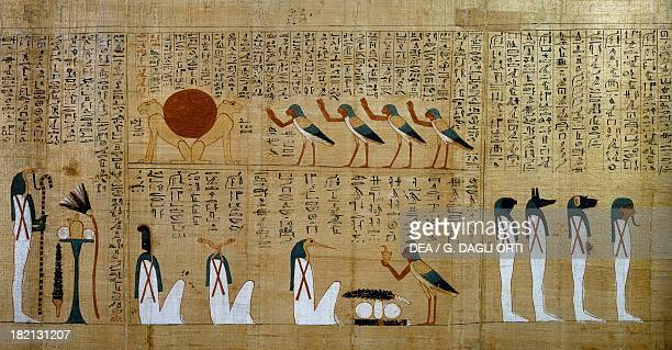 Hymn to the sun depicted as two lions detail from the Mythological papyrus of Imenemsauf chief bearer of Amon Egyptian civilisation Third...