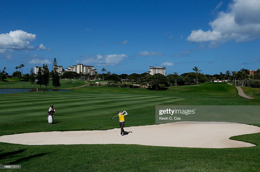 Hyo Joo Kim of South Korea plays her second shot out of the sand on the second hole during the second round of the LPGA LOTTE Championship Presented by J Golf at the Ko Olina Golf Club on April 18, 2013 in Kapolei, Hawaii.