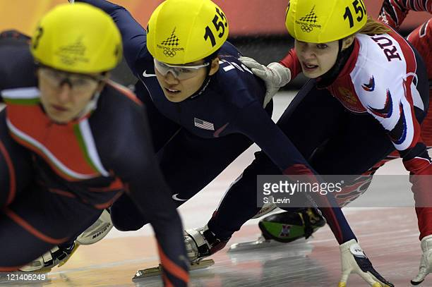 Hyo Jung Kim of the United States in action during the Women's 1500 m Short Track Speed Skating event at the Palavela during the 2006 Olympic Games...