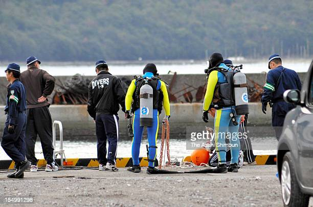 Hyogo Prefecture Police divers prepare for investigation to find a drum stuffed the body of the abondoned 51yearold missing man at Hinase Port on...