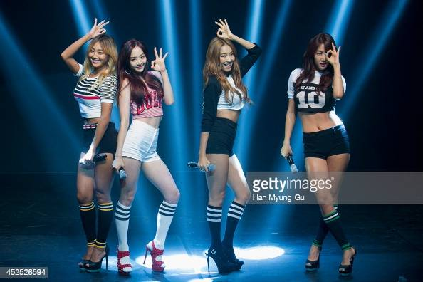 Hyolyn Dasom Bora and Soyou of South Korean girl group SISTAR perform onstage during their new album 'Touch and Move' showcase at Ilchi Art Hall on...
