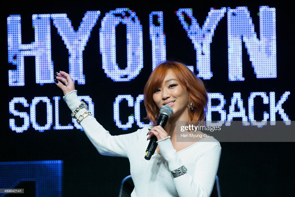 Hyolyn of girl group SISTAR attends her first solo album ' Love Hate' showcase on November 26 2013 in Seoul South Korea