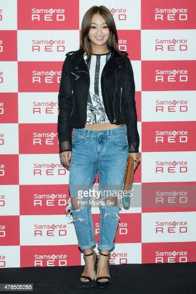 Hyolyn of South Korean girl group SISTAR attends the 'Samsonite Red' 2014 S/S Collection Presentation at Platoon Kunsthalle on March 13 2014 in Seoul...