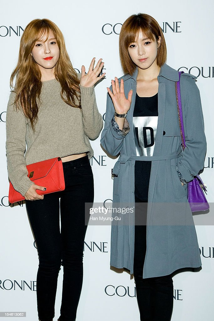 Hyomin and Eunjung of South Korean girl group T-ara attend during the Promotional event of 'Couronne' Flagship Store Renewal Opening Party at Couronne Gangnam Store on October 23, 2012 in Seoul, South Korea.