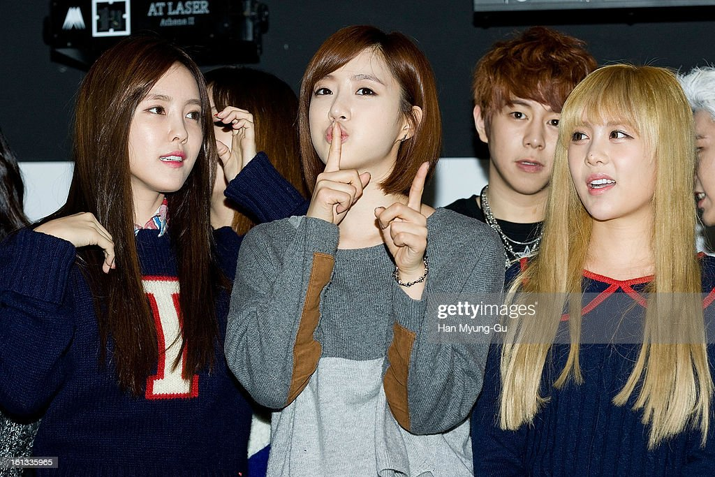 Hyomin (Hyo-Min), Eunjung (Eun-Jung) and Qri of South Korean girl group T-ara attend the Core Contents Media Artists New Year's Day Charity Event at Gibalhan Chicken Store on February 9, 2013 in Bucheon, South Korea.
