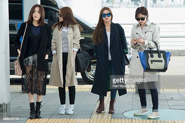 Hyomin Jiyeon Soyeon and Eunjung of South Korean girl group Tara are seen on departure at Incheon International Airport on March 28 2015 in Incheon...