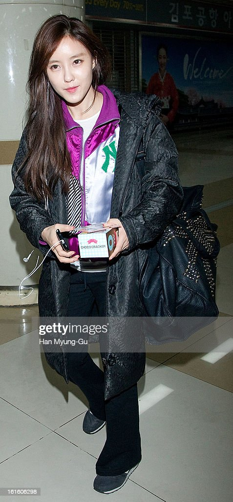Hyomin (Hyo-Min) of South Korean girl group T-ara is seen at Gimpo International Airport on February 11, 2013 in Seoul, South Korea.