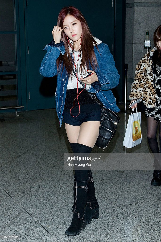 Hyomin of South Korean girl group T-ara is seen at Incheon International Airport on December 28, 2012 in Incheon, South Korea.