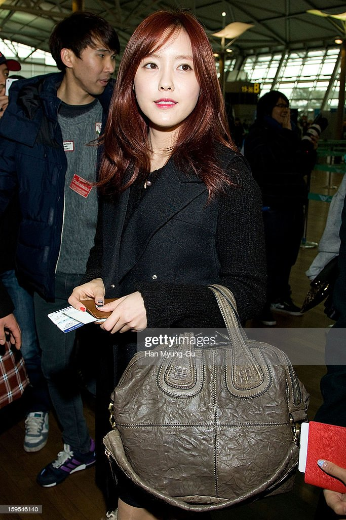 Hyomin (Hyo-Min) of South Korean girl group T-ara is seen at Incheon International Airport on January 15, 2013 in Incheon, South Korea.