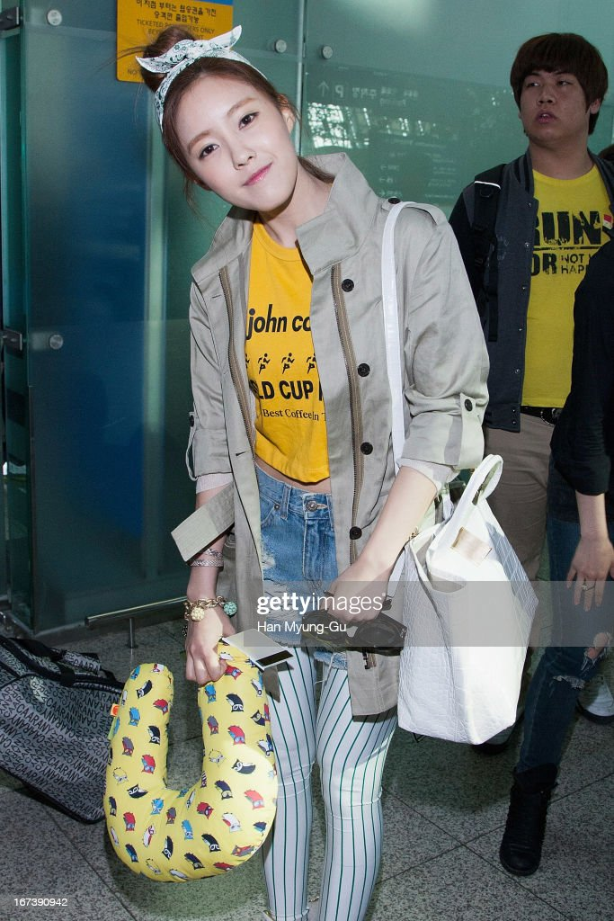 Hyomin (Hyo-Min) of South Korean girl group T-ara is seen on departure at Incheon International Airport on April 24, 2013 in Incheon, South Korea.
