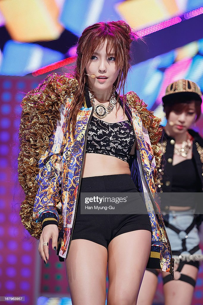 Hyomin (Hyo-Min) of South Korean girl group T-ara N4 performs onstage during the Mnet 'M CountDown' at CJ E&M Center on May 02, 2013 in Seoul, South Korea.