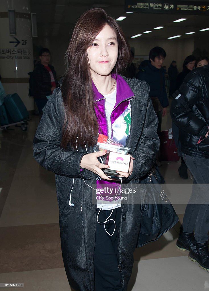 Hyo-Min of T-ARA is seen at Gimpo International Airport on February 11, 2013 in Seoul, South Korea.