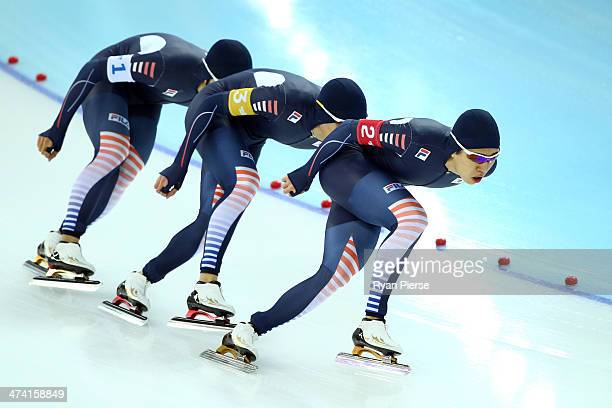 Hyong Jun Joo Seung Hoon Lee and Cheol Min Kim of South Korea compete during the Men's Team Pursuit Final A Speed Skating event on day fifteen of the...