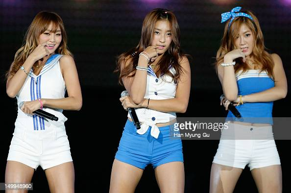 Hyorin Bora and Soyou of South Korean girl group SISTAR perform onstage during the Samsung Galaxy SIII Stadium 'Idol Big Match' on August 7 2012 in...