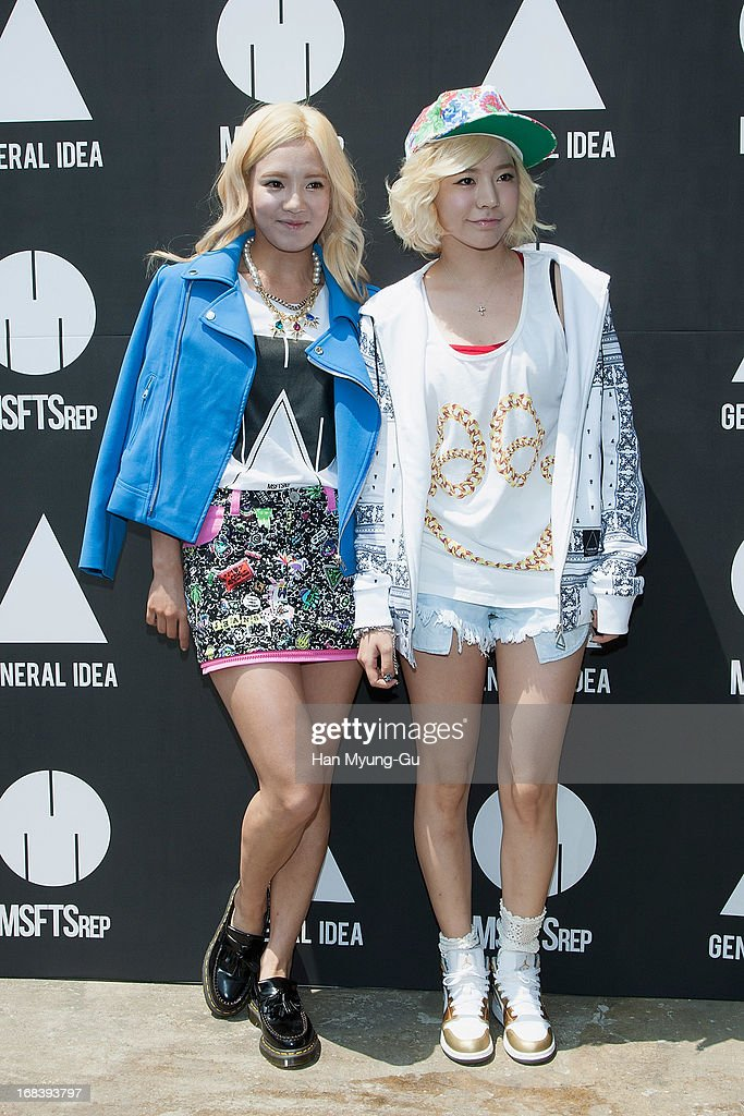 Hyoyeon and Sunny of South Korean girl group Girls' Generation pose for media during a promotional event for the 'General Idea' Gangnam Store on May 8, 2013 in Seoul, South Korea.