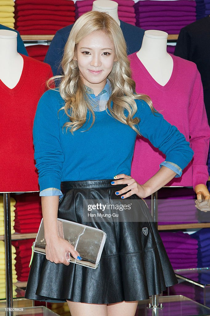 Hyoyeon of South Korean girl group Girls' Generation attends during the 'Uniqlo' 2013 F/W Silk/Cashmere Project press event at Gangnam Uniqlo Store on August 29, 2013 in Seoul, South Korea.