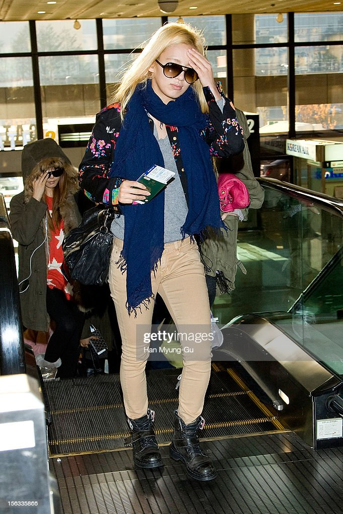 Hyoyeon of South Korean girl group Girls' Generation is seen at Gimpo International Airport on November 13, 2012 in Seoul, South Korea.