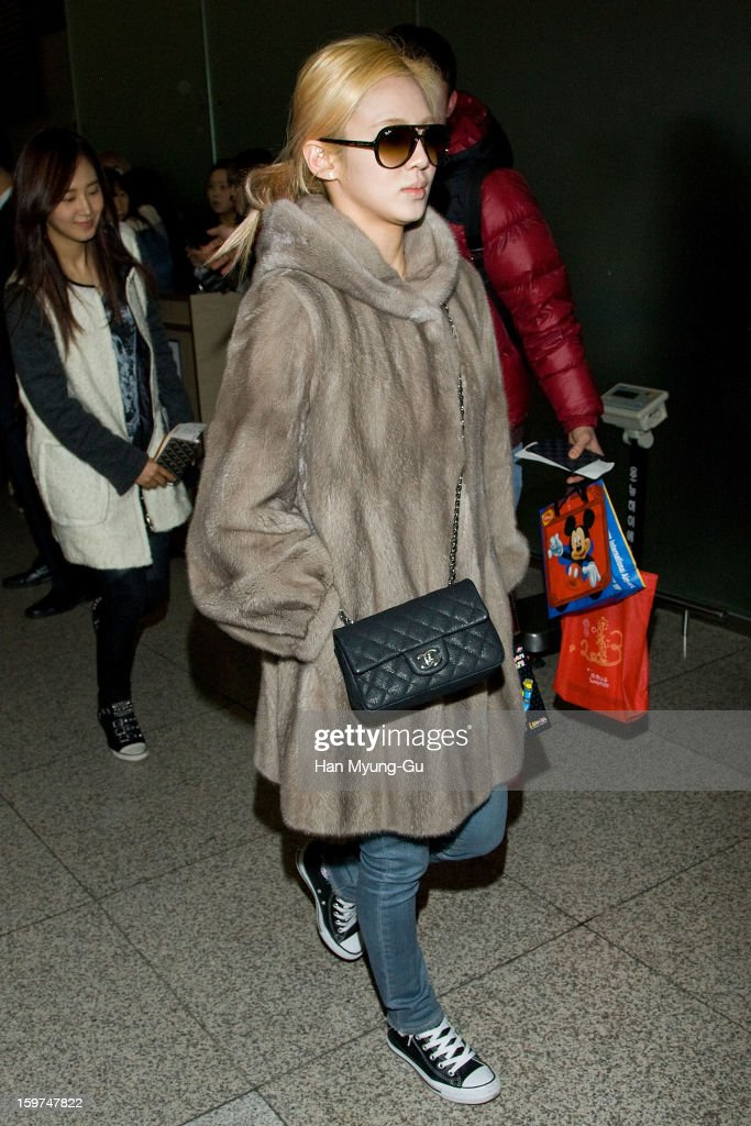 Hyoyeon of South Korean girl group Girls' Generation is seen at Incheon International Airport on January 19, 2013 in Incheon, South Korea.