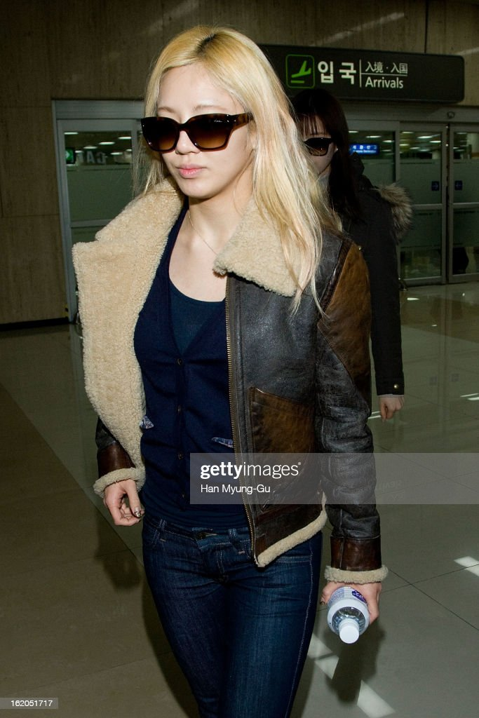 Hyoyeon of South Korean girl group Girls' Generation is seen upon arrival at Gimpo International Airport on February 18, 2013 in Seoul, South Korea.