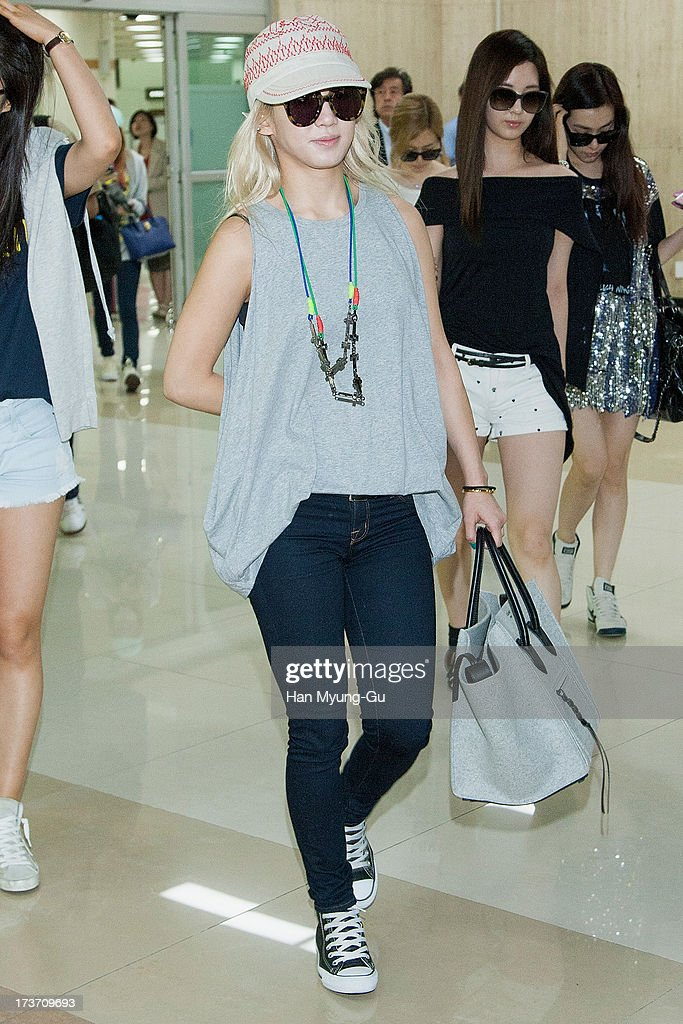 Hyoyeon of South Korean girl group Girls' Generation is seen upon arrival at Gimpo International Airport on July 17, 2013 in Seoul, South Korea.