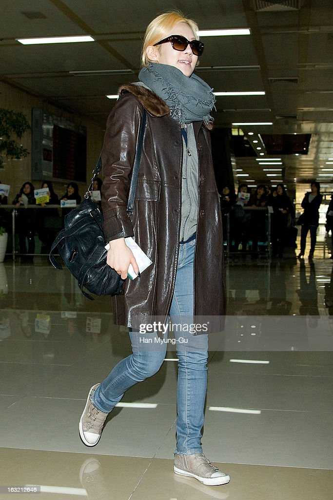 Hyoyeon of South Korean girl group Girls' Generation is seen upon arrival from Japan at Gimpo International Airport on March 6, 2013 in Seoul, South Korea.