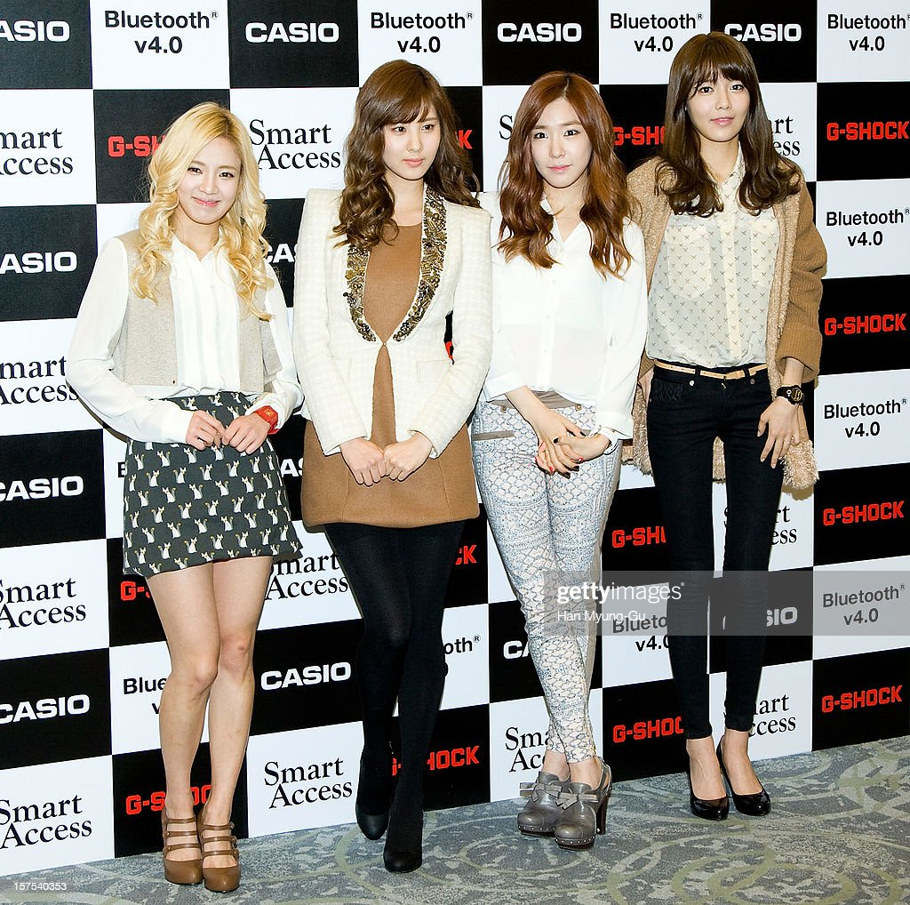 Hyoyeon, Seohyun, Tiffany and Sooyoung of Girls' Generation attend during the promotional event of 'Evolution of Casio 2013' at Novotel Ambassador Gangnam on December 4, 2012 in Seoul, South Korea.