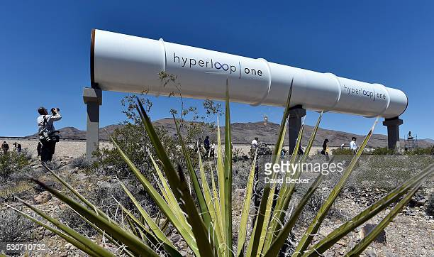 Hyperloop tubes are displayed during the first test of the propulsion system at the Hyperloop One Test and Safety site on May 11 2016 in North Las...