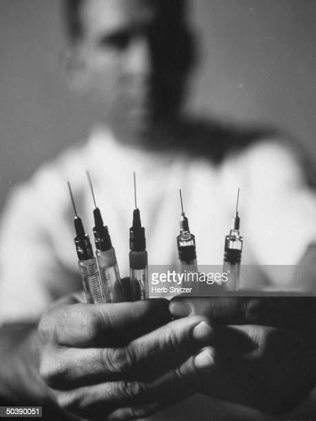 Hypodermic needles containing new measles vaccines