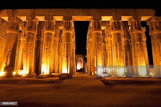 Hypostyle Hall Of Amenhotep III And Apse Of The Chapel For The Roman Imperial Cult In The Luxor Temple At Night Qina Egypt